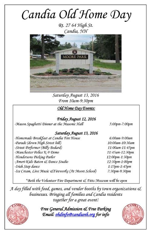 Candia Old Home Day Flyer - Aug 13, 2016